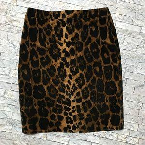 💥 Talbots Faux Velvet Leopard Pencil Skirt